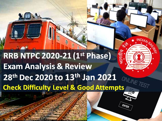 RRB NTPC 2021 Exam Analysis (Phase 1-28th Dec 2020 to 13th Jan 2021): Difficulty Level of CBT -'Easy/Moderate/Tough', Check Good Attempts to clear Cutoff Marks