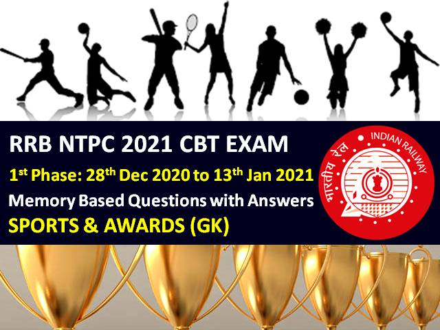 RRB NTPC 2021 Exam Memory Based Sports & Awards GK Questions with Answers (Phase-1): Check General Knowledge Questions asked in RRB NTPC 2020-21 CBT