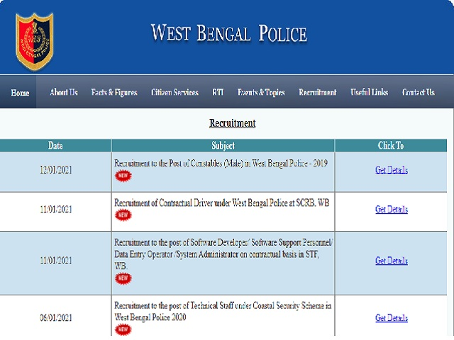 WB Police Constable 2019 Recruitment Training and Medical Exam Dates