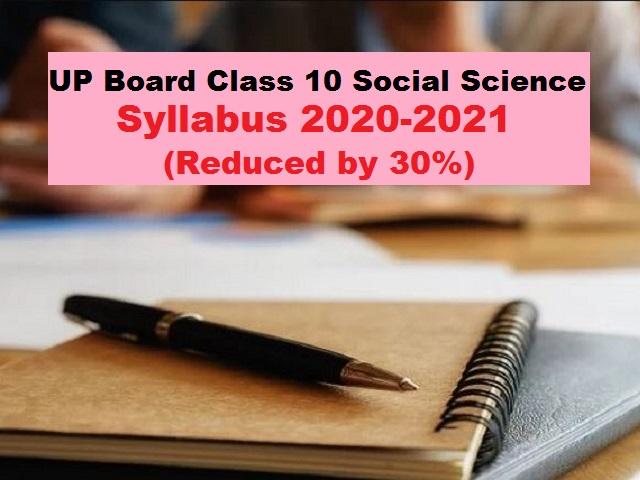 UP Board Class 10 Social Science Syllabus PDF English Medium