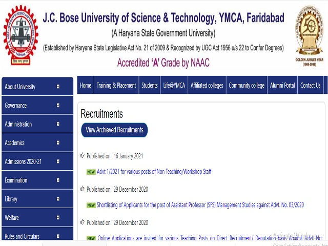 YMCAUST Recruitment 2021: Apply for 18 Store Keeper, Jr Steno, Clerk & Other Posts
