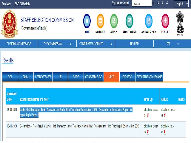 SSC JHT Tier 1 2021 Result