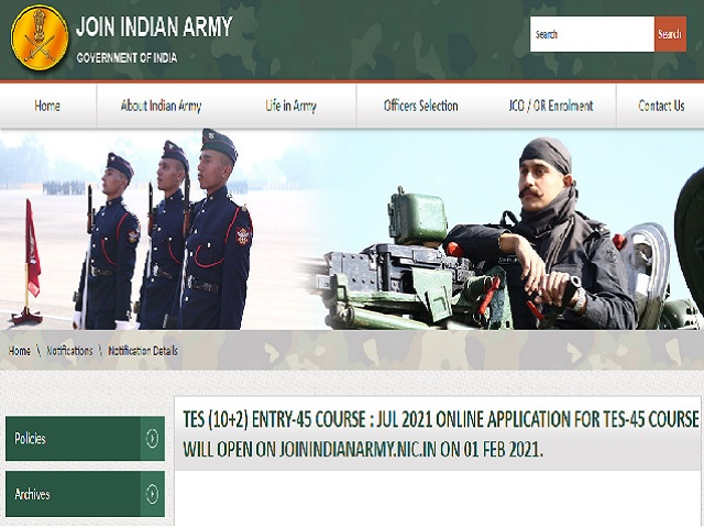 Indian Army 10+2 TES 45 Recruitment 2021