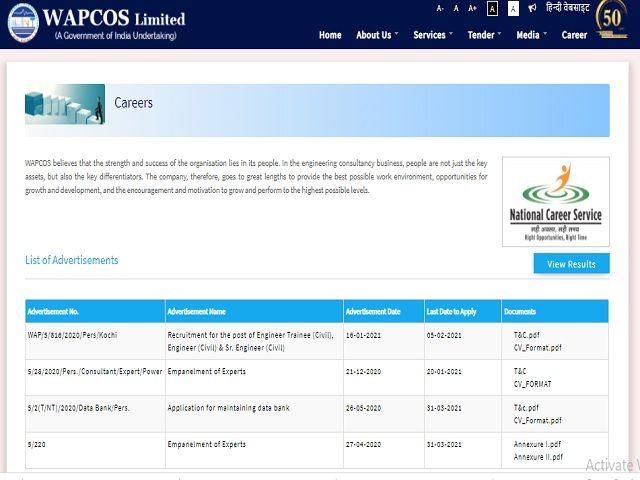 WAPCOS Limited Recruitment 2021: Apply for Engineer Trainee, Engineer and Senior Engineer Posts