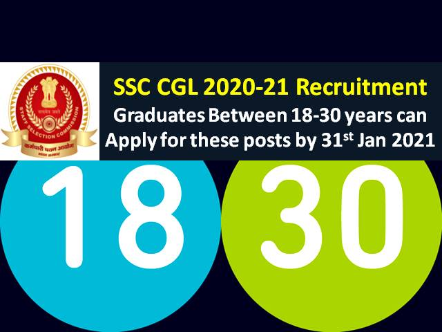 SSC CGL 2021 Registration @ssc.nic.in: Candidates between age group 18-30 years are eligible to apply for these posts under SSC Combined Graduate Level 2021 Recruitment
