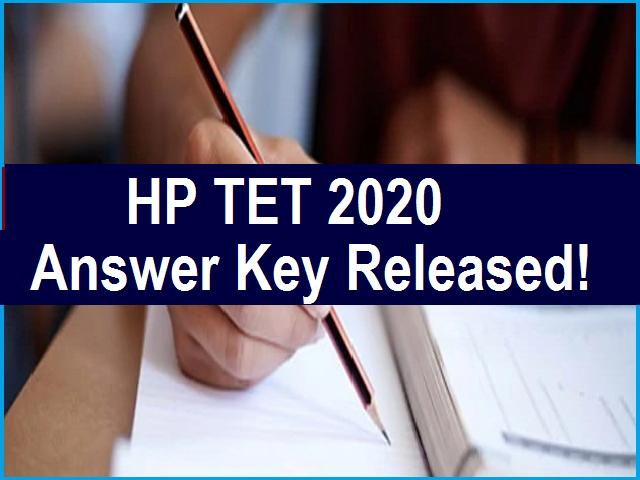 HP TET Answer Key 2020