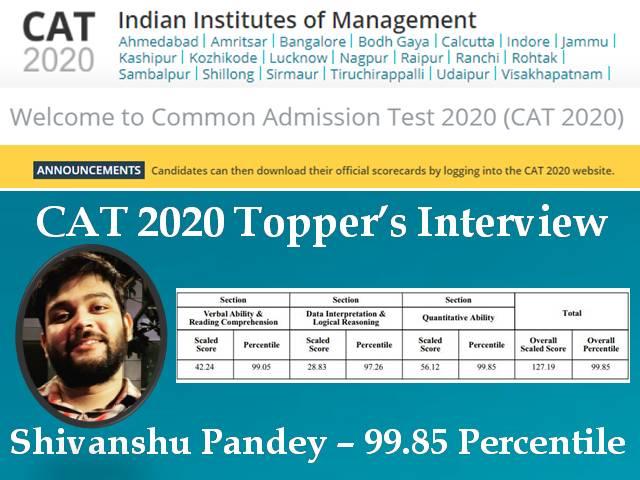 CAT 2020 Topper Shivanshu
