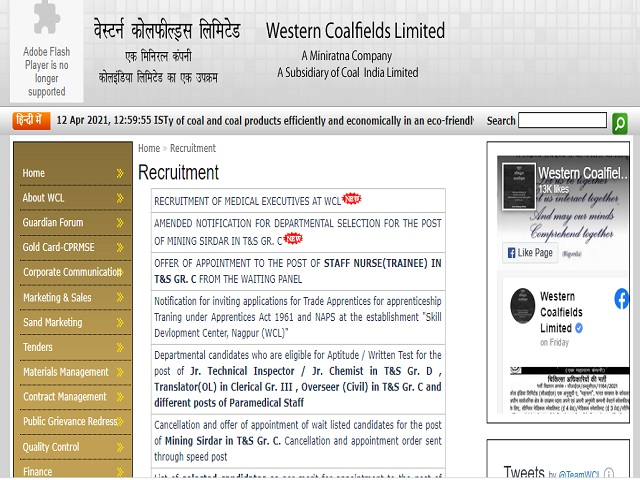 WCL Recruitment 2021: Apply Sr. Medical Specialist, Medical Specialist and Sr. Medical Officer Posts