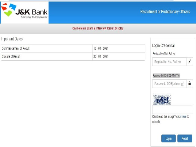 JK Bank PO Result 2021