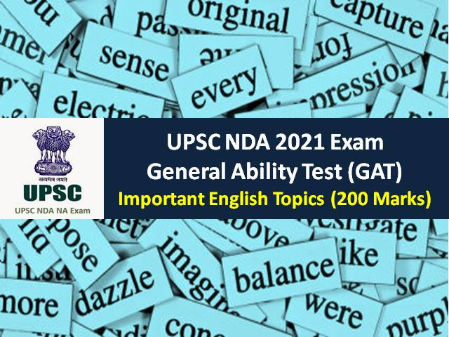 UPSC NDA 2021 General Ability Test (GAT): Check Important English Topics (200 Marks) for Written NDA Exam