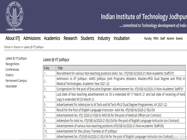 IIT Jodhpur Recruitment 2021: Apply Senior Library Information Assistant, Junior Assistant & Other Posts