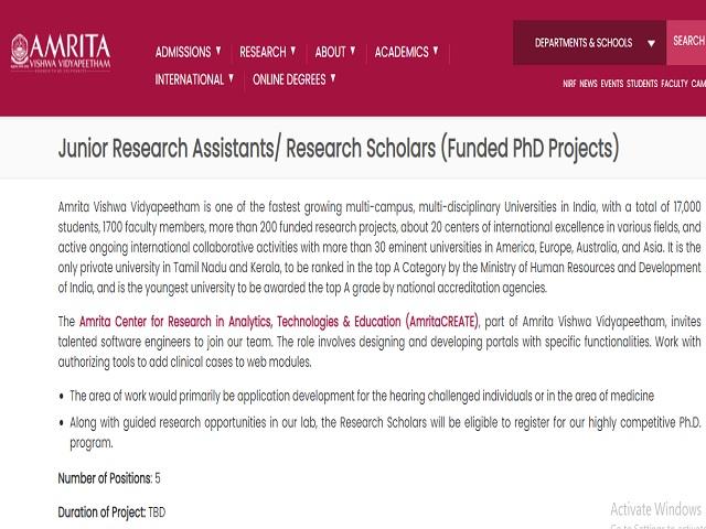 Amrita Vishwa Vidyapeetham Recruitment 2021: Apply JRA/Research Scholars Posts
