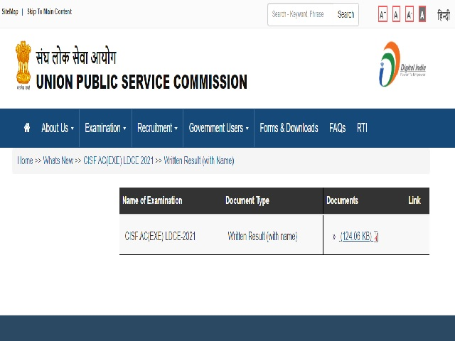 UPSC CISF AC LDCE Result 2021