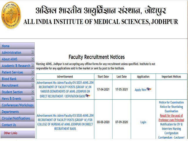 AIIMS Jodhpur Recruitment 2021: Apply Group A Posts
