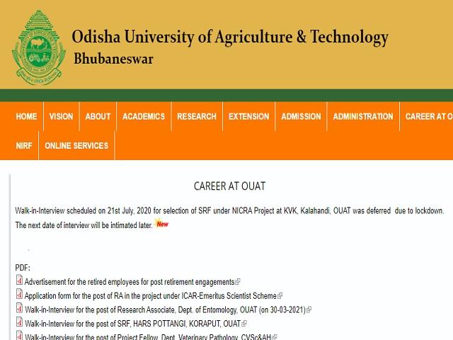 OUAT Recruitment 2021: Apply Office Assistant, Lab. Tech./Asst. & Other Posts