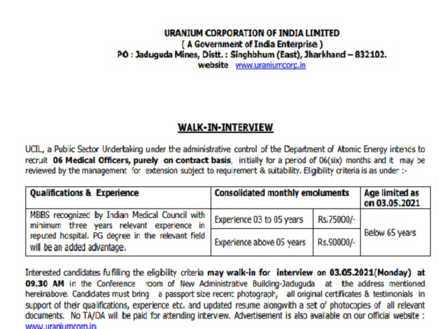 UCIL Medical Officer Recruitment 2021
