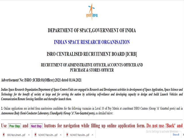 ISRO Recruitment 2021: Apply Purchase & Stores Officer, Administrative Officer and Accountant Officer Posts