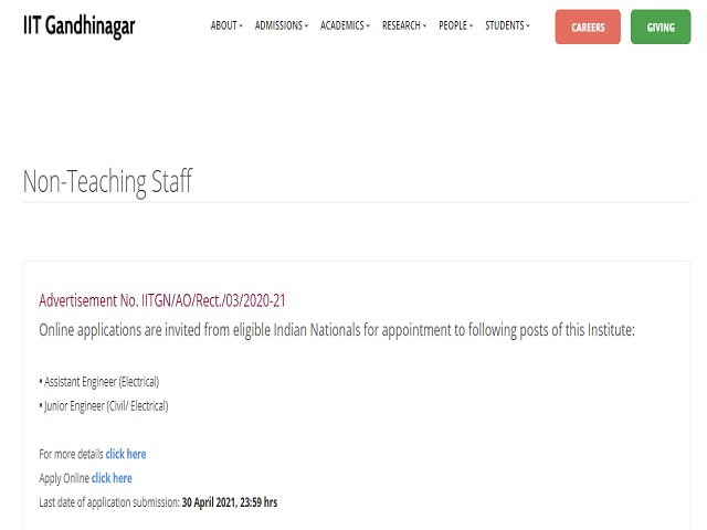 IIT Gandhinagar Recruitment 2021: Apply Assistant Engineer and Junior Engineer Posts