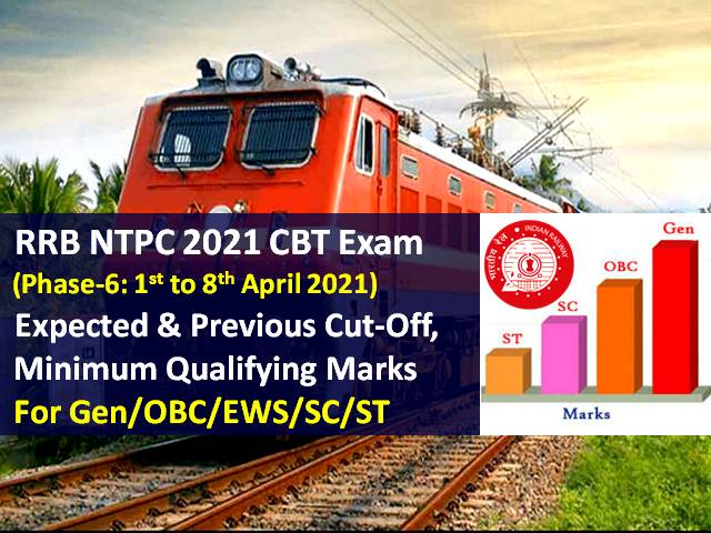 RRB NTPC 2021 Exam Phase-6 Expected Cutoff Marks Categorywise (Gen/OBC/EWS/SC/ST): Also Check Minimum Qualifying Marks & Previous Cutoff