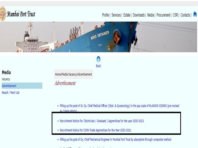 Mumbai Port Trust Apprentice 2021