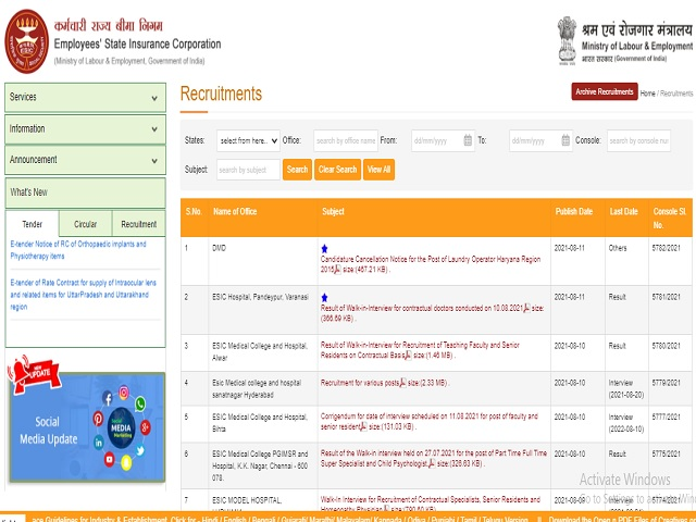 ESIC Hyderabad Recruitment 2021: Apply Faculty, Specialist, Sr. Resident and Jr. Resident Posts