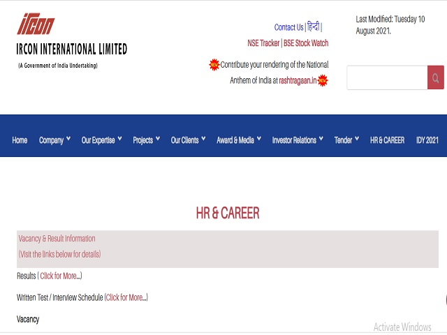 IRCON International Ltd. Work Engineers/Electrical and Site Supervisor/Electrical Posts