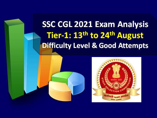 SSC CGL 2021 Exam Analysis (13th to 24th August-All Shifts): Check Tier-1 Question Paper Difficulty Level & Good Attempts to clear Cutoff