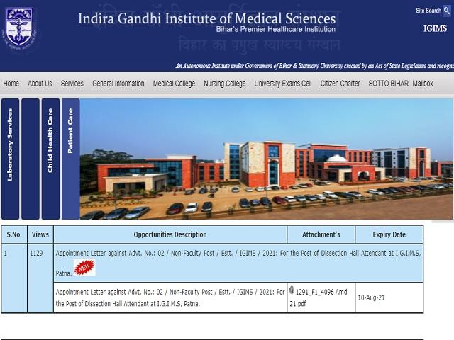 IGIMS Patna Jr. Resident, Sr. Resident and Tutor Posts