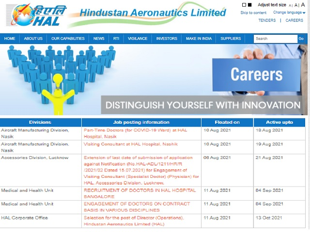 HAL Recruitment 2021: Apply Medical Superintendent, Senior Medical Officer and Other Posts