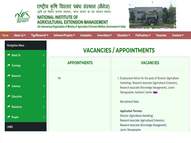 MANAGE Recruitment 2021: Apply Director, Research Associate, Junior Steno and Other Posts