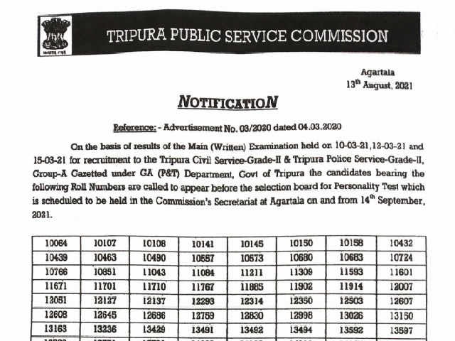 TPSC TCS TPS Mains 2021 Result