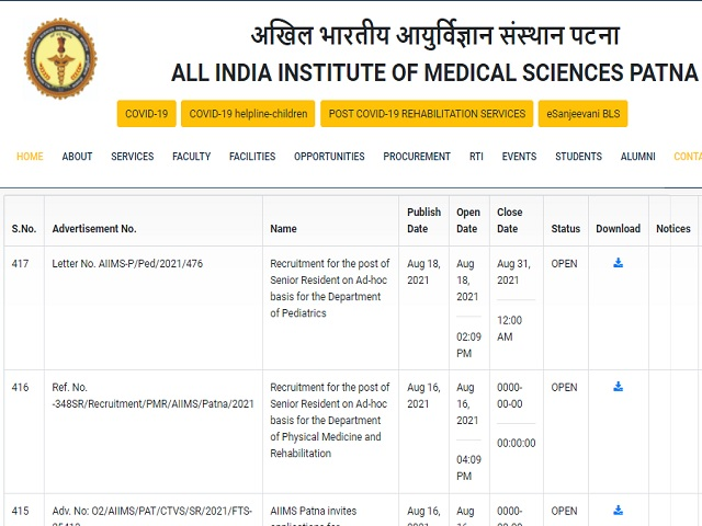 AIIMS Patna Senior Resident Posts