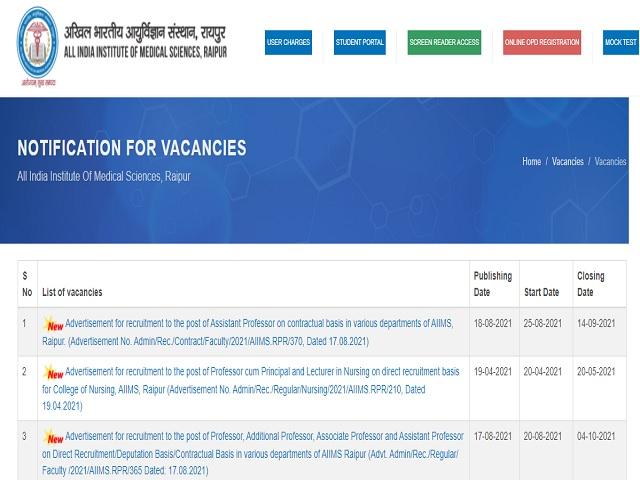All India Institute of Medical Sciences (AIIMS), Raipur Recruitment 2021: Apply Assistant Professor Posts