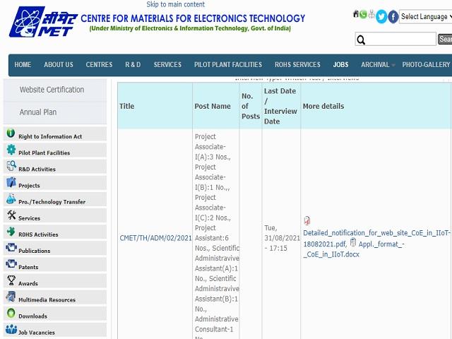 C-MET Recruitment 2021: Apply Project Associate-I, Project Asst & Other Posts