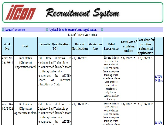IRCON Apprentice 2021