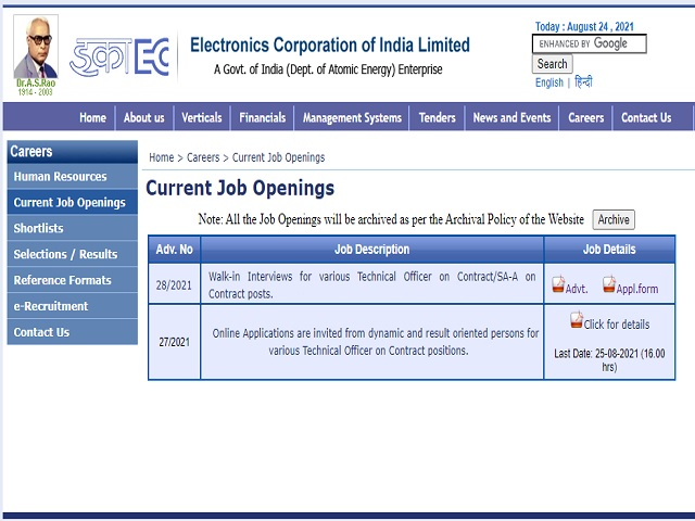 ECIL Technical Officers, Scientific Asst and Junior Artisan Posts