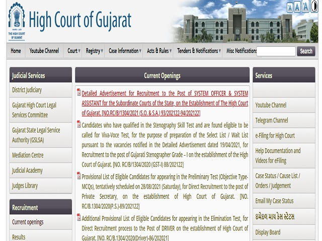 Gujarat High Court Recruitment 2021: Apply Project Scientist and Project Scientific Assistant Posts