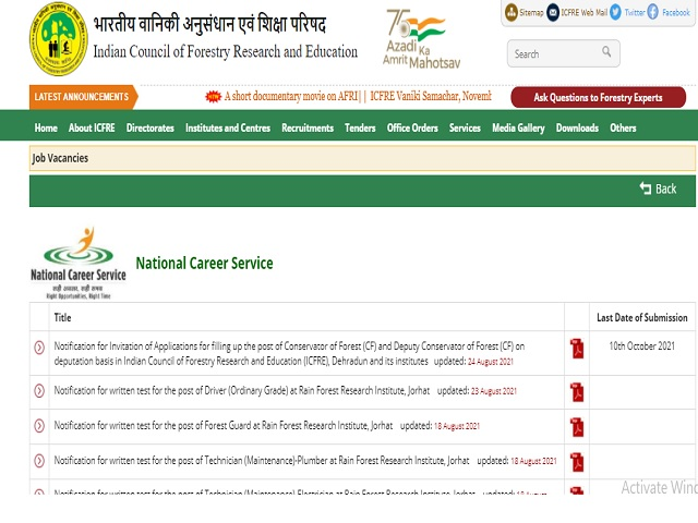 ICFRE Recruitment 2021: Apply Conservator of Forest & Deputy Conservator of Forest Posts