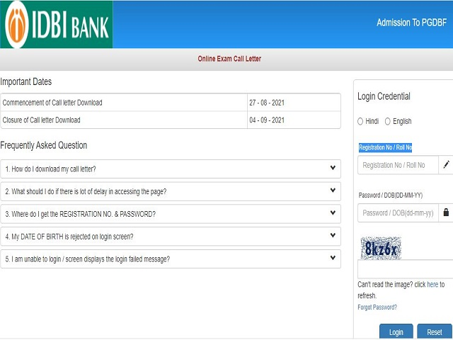 IDBI Assistant Manager Admit Card 2021