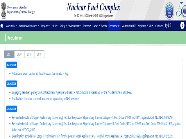 Nuclear Fuel Complex (NFC) Recruitment 2021: Apply Technical Officer D Posts