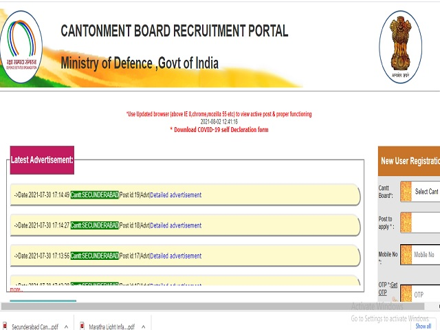 Cantonment Board, Secunderabad Recruitment 2021: Medical Officer, Nurses and Other Posts