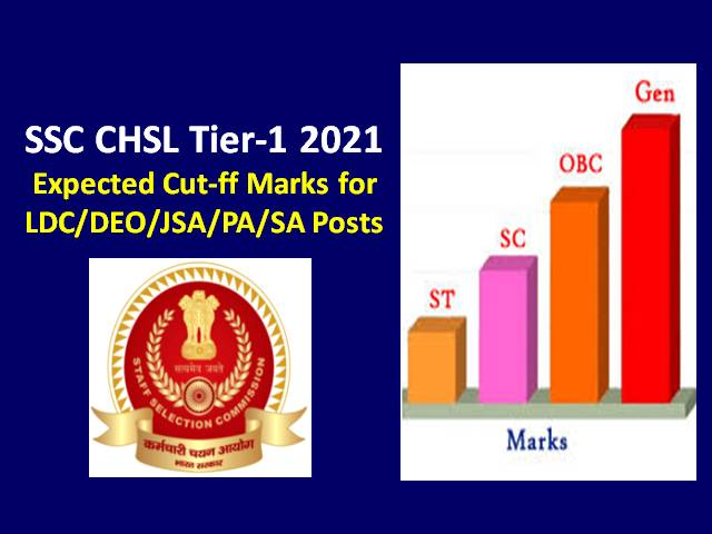 SSC CHSL Exam 2021 Expected Cutoff Marks Categorywise (Gen OBC EWS SC ST): Check Tier-1 Previous Cutoff for LDC DEO JSA PA SA Posts