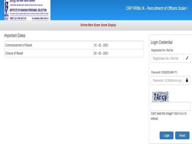 IBPS RRB PO Mains Score Card