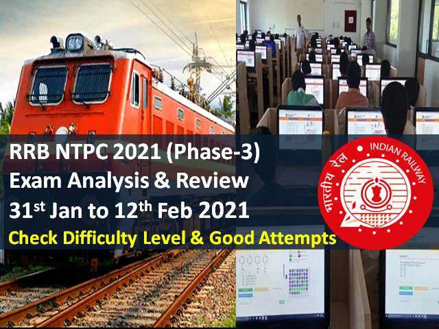 RRB NTPC 2021 Exam Analysis Phase-3 (31st Jan to 12th February): CBT Difficulty Level similar to Phase-1/Phase-2, Check Good Attempts to clear cutoff marks