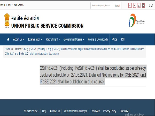 UPSC IAS IFS Prelims 2021 Notification