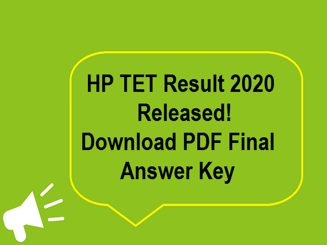 HP TET Result 2020 Nov