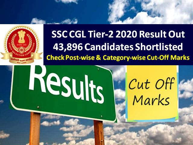 SSC CGL Tier-2 Result 2019-2020 (Download PDF): 43896 Candidates Shortlisted, Check Marks/Know the Cutoff Categorywise & Postwise