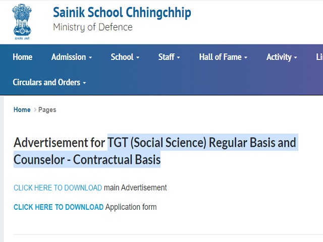 Sainik School Chhingchhip Recruitment 2021: Apply for TGT and Counselor Posts