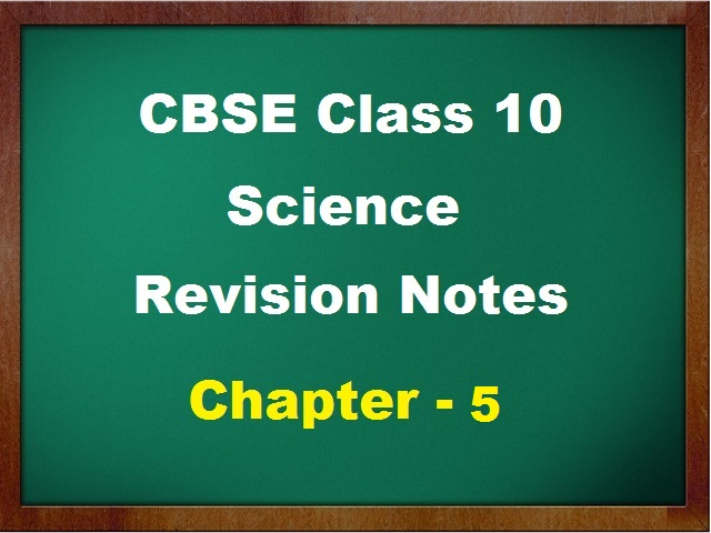 CBSE Class 10 Science Revision Notes for Chapter 5 Periodic Classification of Elements