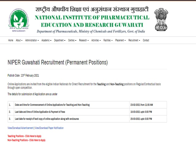 NIPER Recruitment 2021: Administrative Officer, Technical Assistant, MO & Other Posts